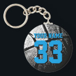 """Basketball keychains for boyfriend or girlfriend<br><div class=""""desc"""">Personalized blue jersey number basketball keychain with name. Sporty present under 5$ for men / guys, women / ladies and children. Personalizable with funny quote, slogan, monogram, name or high school team name. Cool sports gift idea for basketball players, teammates and fans. Cute birthday party favor for senior students, teenagers...</div>"""