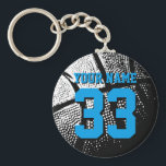 "Basketball keychains for boyfriend or girlfriend<br><div class=""desc"">Personalized blue jersey number basketball keychain with name. Sporty present under 5$ for men / guys, women / ladies and children. Personalizable with funny quote, slogan, monogram, name or high school team name. Cool sports gift idea for basketball players, teammates and fans. Cute birthday party favor for senior students, teenagers...</div>"