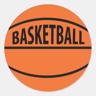 basketball labelled icon round sticker