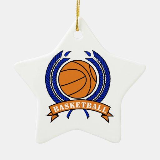 basketball laurel emblem orange and blue Double-Sided star ceramic christmas ornament