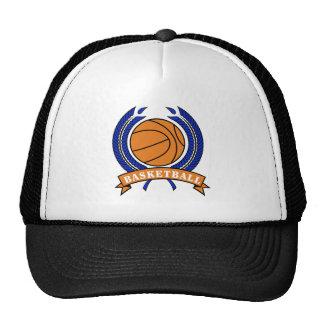 basketball laurel emblem orange and blue trucker hat