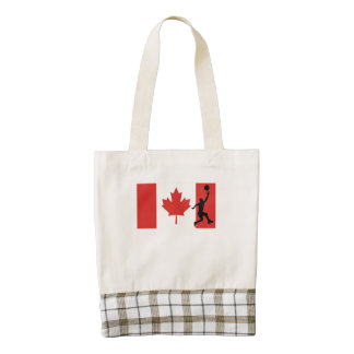 Basketball Layup Canadian Flag Zazzle HEART Tote Bag