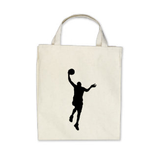 Basketball Layup Silhouette Canvas Bags