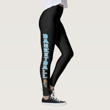 Aztec Themed Basketball Letters in a Baby Blue Leggings