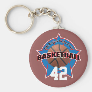 Basketball Life Begins on the Court and Number Basic Round Button Keychain