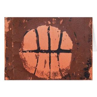Basketball Lino Art Print by Shoots McHoop Card