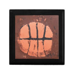Basketball Lino Art Print by Shoots McHoop Trinket Boxes