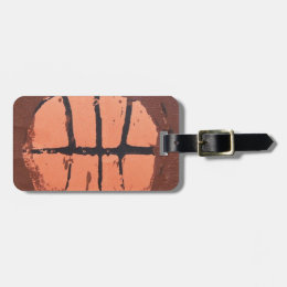 Basketball Lino Art Print by Shoots McHoop Luggage Tag
