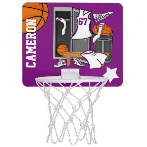 Basketball Locker Room Custom Player Name Number Mini Basketball Hoop