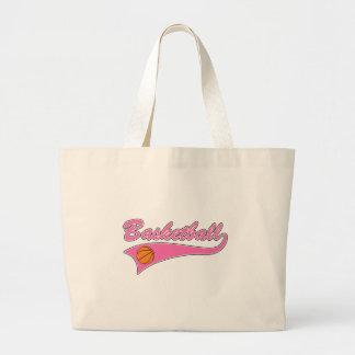 basketball logo pink womens girls large tote bag