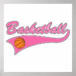 basketball logo pink womens girls poster
