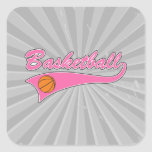 basketball logo pink womens girls square sticker