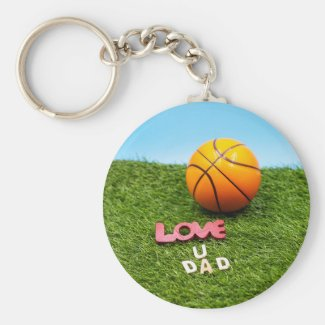 Basketball love you dad with basketball on green keychain