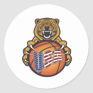 basketball lover tiger - USA Sports Classic Round Sticker