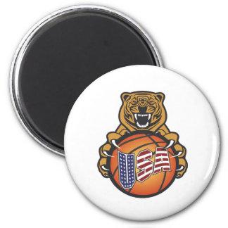 basketball lover tiger - USA Sports Magnet