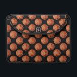 """Basketball MacBook Pro Sleeve<br><div class=""""desc"""">Laptop Sleeve designed with orange Basketballs on a black background.</div>"""