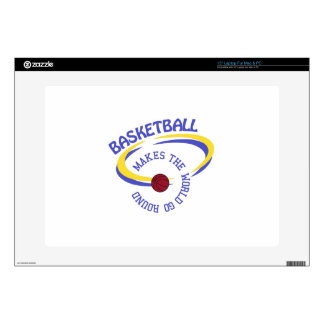 "Basketball Makes The World Go Round 15"" Laptop Decal"