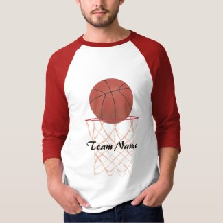 Basketball making the basket, Team Name shirts