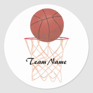 Basketball making the basket, Team Name stickers