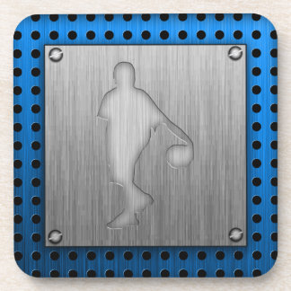 Basketball; metal-look beverage coaster