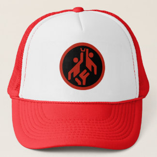 Basketball, modern large icon scarlet red on black trucker hat