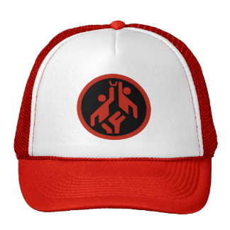 Basketball, modern large icon scarlet red on black trucker hat