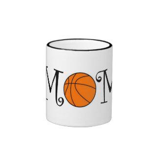 Basketball Mom, Black Ringer Mug