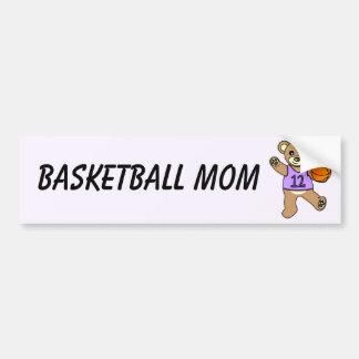 Basketball Mom - Cute Teddy Bear Girl Car Bumper Sticker
