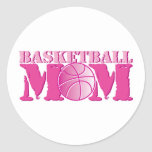Basketball Mom Pink Round Stickers