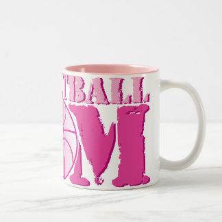 Basketball Mom Pink Two-Tone Coffee Mug