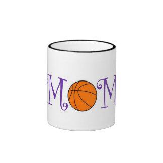 Basketball Mom, Purple Ringer Mug