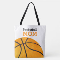 Basketball Mom Retro Personalized Trendy Orange Tote Bag