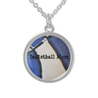 Basketball Mom Sterling Silver Round Necklace