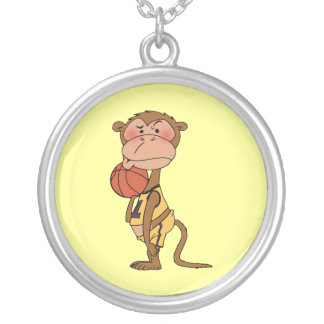 Basketball monkey silver plated necklace