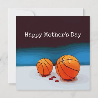 Basketball Mother's Day to mom with love red heart Card