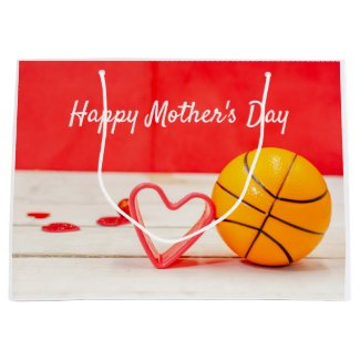 Basketball Mother's Day to mom with love red heart Large Gift Bag