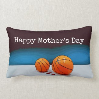 Basketball Mother's Day to mom with love red heart Lumbar Pillow