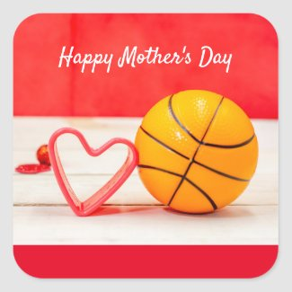 Basketball Mother's Day to mom with love red heart Square Sticker