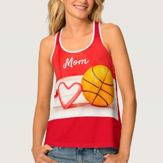 Basketball Mother's Day to mom with love red heart Tank Top