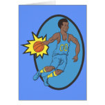 Basketball Moves - Yellow and Blue Greeting Card