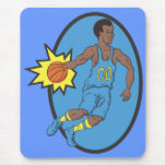 Basketball Moves - Yellow and Blue Mouse Pad