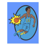 Basketball Moves - Yellow and Blue Postcard