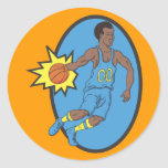 Basketball Moves - Yellow and Blue Classic Round Sticker