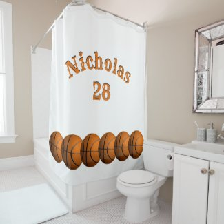 Basketball Name and Number Shower Curtain
