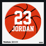 """Basketball Name &amp; Number Custom Locker Room Decals<br><div class=""""desc"""">The Basketball Name &amp; Number Custom Locker Room Decals: These look great as locker room tags or wall decorations,  and they would make great gifts for basketball players - think senior gifts,  basketball banquets,  etc. To customize,  simply type any name and number in the text boxes.</div>"""