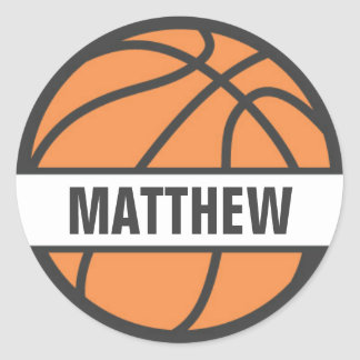 Basketball name tag stickers for kids