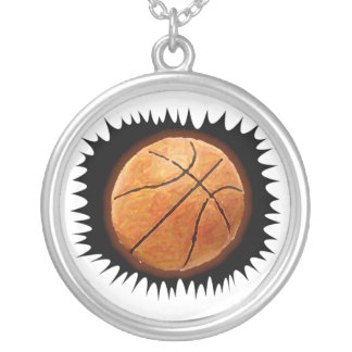 Basketball Round Pendant Necklace