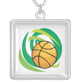 Basketball Square Pendant Necklace