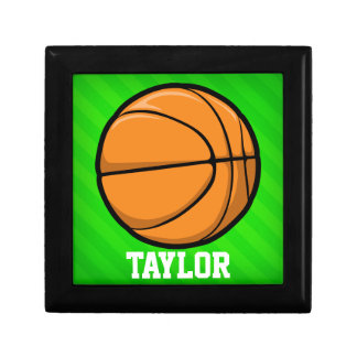 Basketball; Neon Green Stripes Trinket Boxes