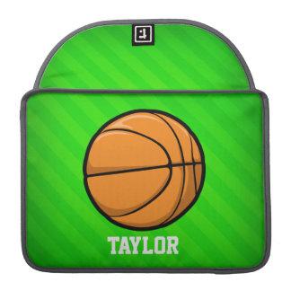 Basketball; Neon Green Stripes MacBook Pro Sleeve